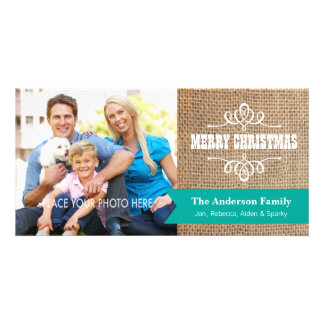 Rustic Burlap with Teal Banner Photo Christmas Photo Card Template