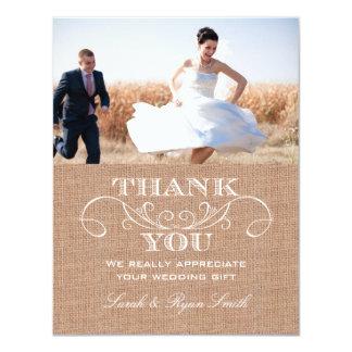 Rustic Burlarp Print Wedding Thank You Cards Announcements