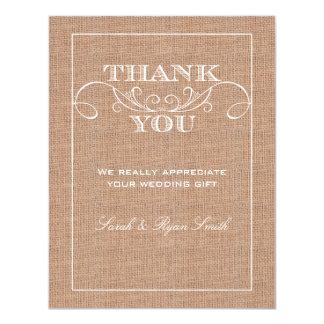 Rustic Burlarp Print Wedding Thank You Cards Invitations