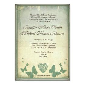 Rustic Butterflies Heart Wedding Invitations