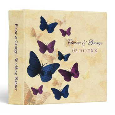 Rustic Butterflies Navy Plum Wedding Planner 3 Ring Binder