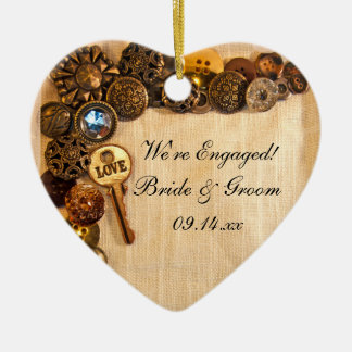 Rustic Buttons Engagement Ceramic Ornament