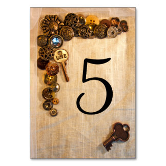 Rustic Buttons Table Numbers Table Card