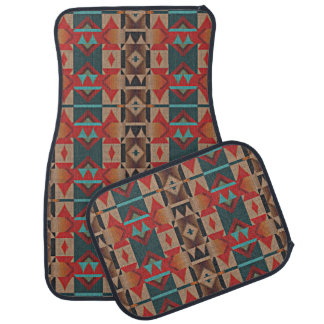 Rustic Cabin American Native Indian Mosaic Pattern Car Floor Mat