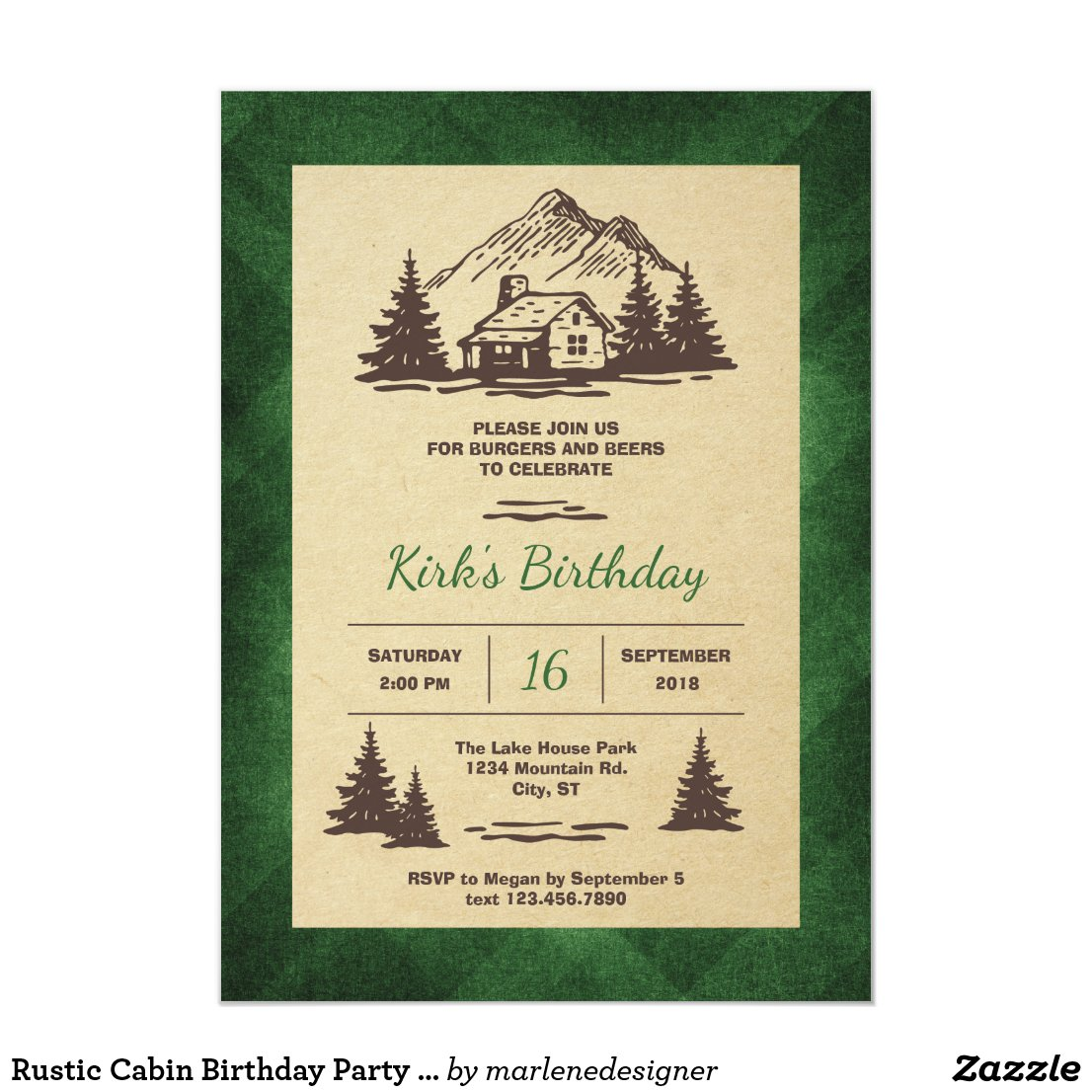 Rustic Cabin Birthday Party Invitation