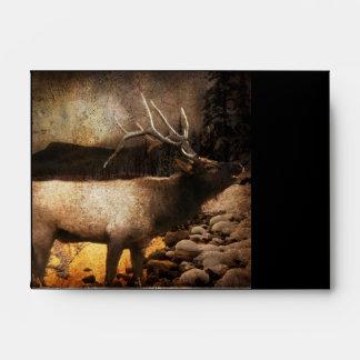 Rustic cabin cottage forest mountain bull elk envelope