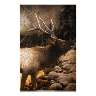 Rustic cabin cottage forest mountain elk stationery