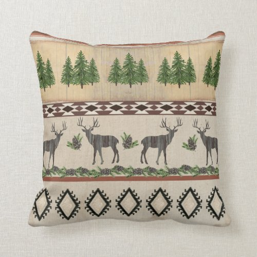 Rustic Cabin Deer Silhouette Pine Tribal Pattern Throw Pillow