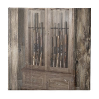 Rustic Cabin Gun Cabinet Tile