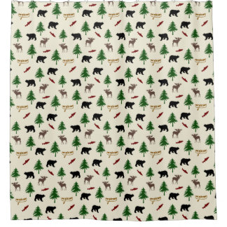 Rustic Cabin Lodge Moose and Bear Shower Curtain