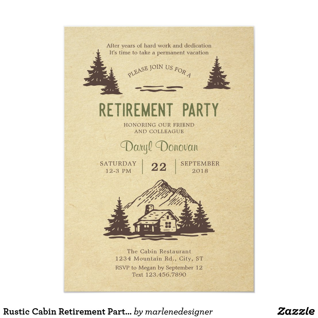 Rustic Cabin Retirement Party Invitation
