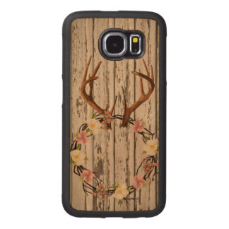 Rustic Cabin Wall Wreath on Antlers Wood Phone Case