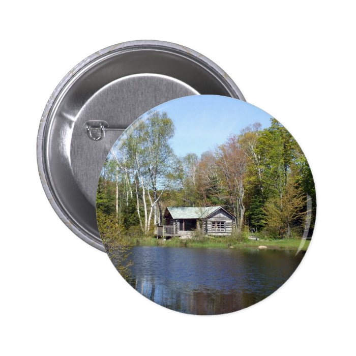 Rustic Cabin Water Scene Pinback Button