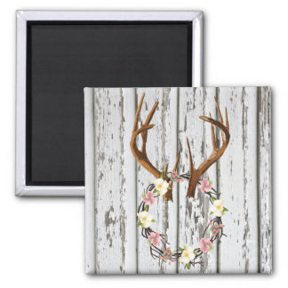 Rustic Cabin Wreath of Flowers on Antlers Design 2 Inch Square Magnet