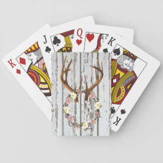 Rustic Cabin Wreath of Flowers on Antlers Design Playing Cards