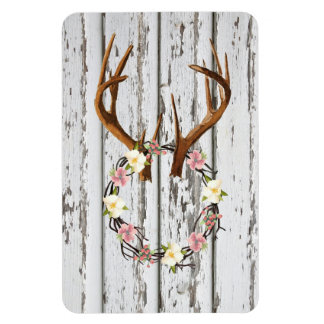 Rustic Cabin Wreath of Flowers on Antlers Design Rectangular Photo Magnet