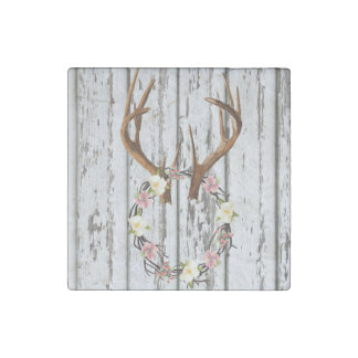 Rustic Cabin Wreath of Flowers on Antlers Design Stone Magnet