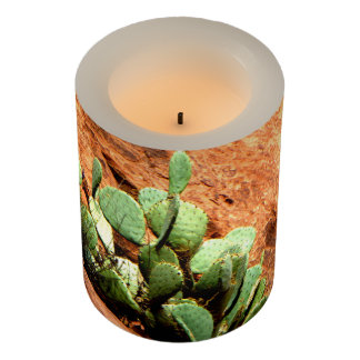 Rustic Cactus on Red Rocks Zion Wrapped LED Candle Flameless Candle