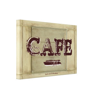 Rustic Cafe Kitchen Canvas Print - Aged Paint