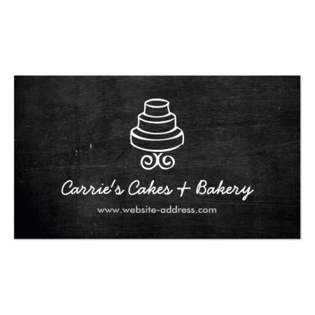 Black Rustic Three-Tier Cake Logo Bakery Shop Business Cards