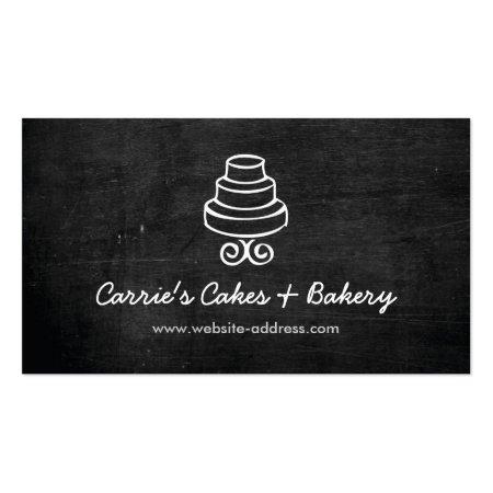 Black Rustic Three-Tier Cake Logo Bakery Shop Business Cards