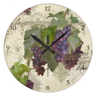 Rustic California Vineyard Pinot Noir Wine Winery Large Clock