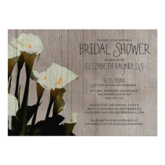 Rustic Calla Lily Bridal Shower Invitations Card
