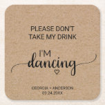 """Rustic Calligraphy Don&#39;t Take My Drink I&#39;m Dancing Square Paper Coaster<br><div class=""""desc"""">These rustic calligraphy &quot;please don&#39;t take my drink I&#39;m dancing&quot; coaster are perfect for a simple wedding reception. The minimalist design features an elegant brush script font and a lovely feminine heart on a faux kraft background. Please note: This is not printed on real kraft paper. It is a high...</div>"""