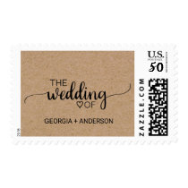 "Rustic Calligraphy Faux Kraft ""The Wedding Of"" Postage"
