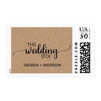 """Rustic Calligraphy Faux Kraft """"The Wedding Of"""" Postage"""