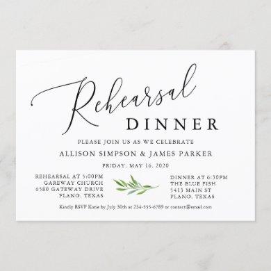 Rustic Calligraphy Greenery Rehearsal Dinner Invitation