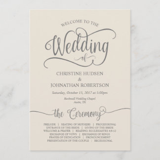 Rustic Calligraphy, Grey Cream Wedding Ceremony Program