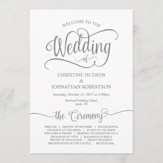 Rustic Calligraphy, Grey font, Wedding Ceremony Program