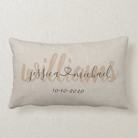 Rustic Calligraphy Names Joined by Heart Wedding Lumbar Pillow