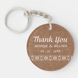 Rustic Calligraphy Ornate Burlap Wedding Thank You Keychain