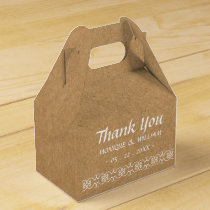 Rustic Calligraphy Ornate Paper Wedding Thank You Favor Box