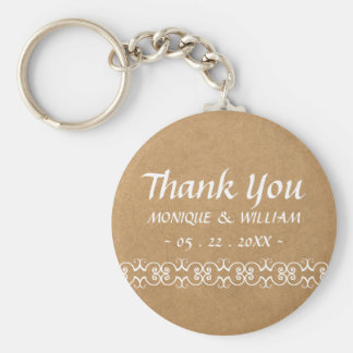 Rustic Calligraphy Ornate Paper Wedding Thank You Keychain