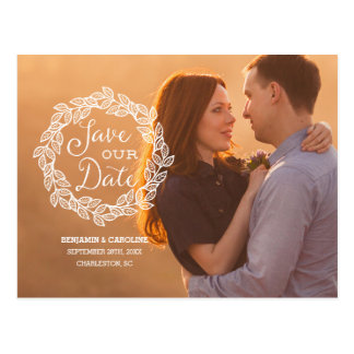Rustic Calligraphy Photo Save the Date Postcard