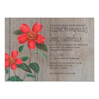 Rustic Camellia Wedding Invitations