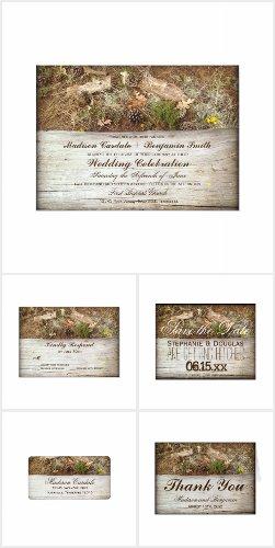 Rustic Camo and Wood Wedding Invitation Set