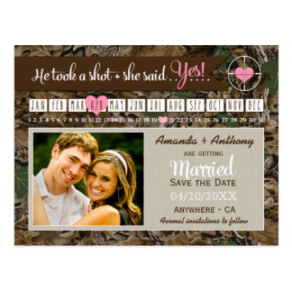 Rustic Camo Calendar Photo Save The Date Cards