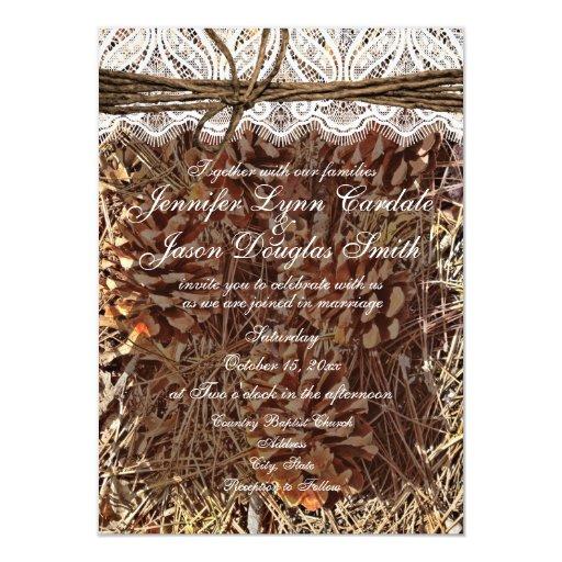 """Rustic Camo Camouflage Lace Wedding Invitations 4.5"""" X 6.25"""" Invitation Card"""