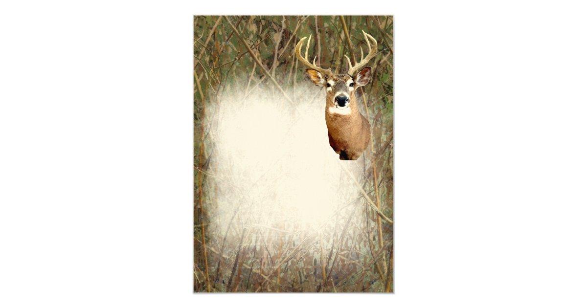 Rustic Camo Hunting Deer Antlers Blank Invitations