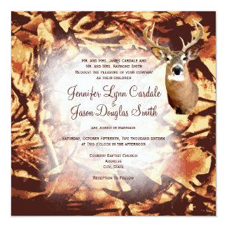 "Rustic Camo Hunting Deer Antlers Wedding Invites 5.25"" Square Invitation Card"