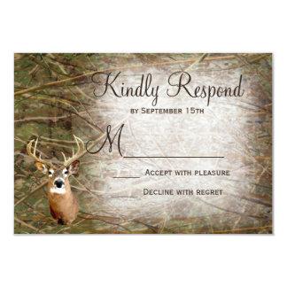 Rustic Camo Hunting Deer Antlers Wedding RSVP Card
