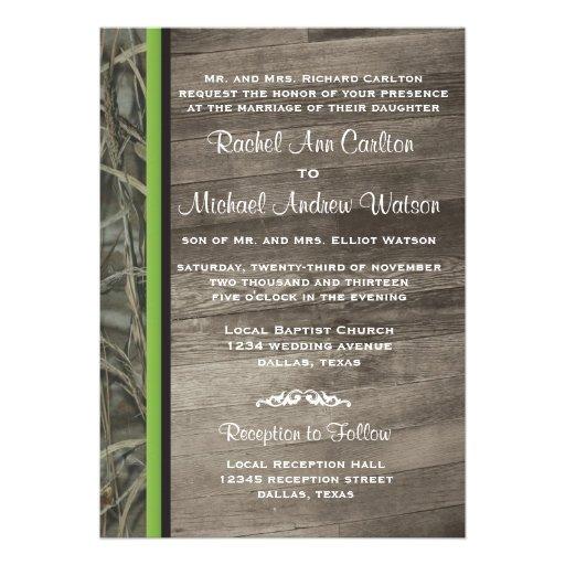 Rustic Camo Wedding Invitations 5 X 7 Invitation Card Zazzle