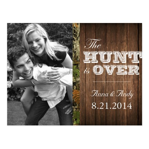 Rustic Camo Wood Save The Date Wedding Postcard | Zazzle