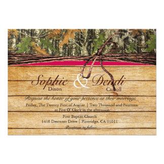 Rustic Camo Wood Wedding Invitation
