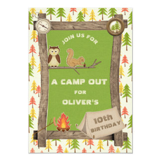 Rustic Camp Out Birthday Party Card