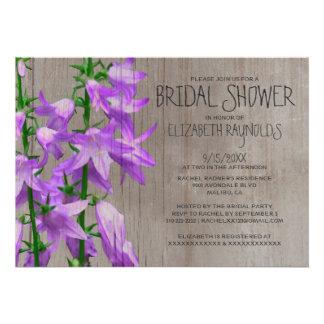 Rustic Campanula Bridal Shower Invitations Invites